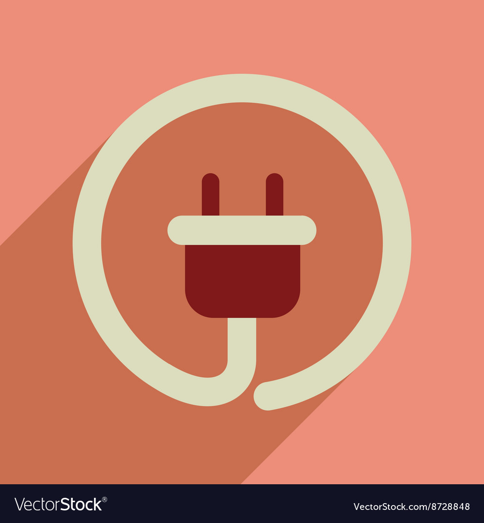 Flat web icon with long shadow power socket vector