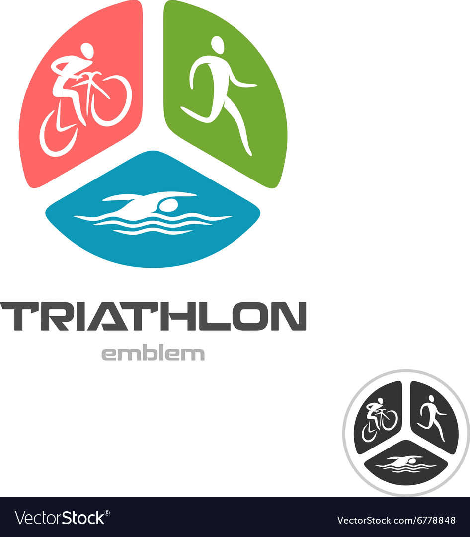 Triathlon sport logo cyclist running and swimming vector