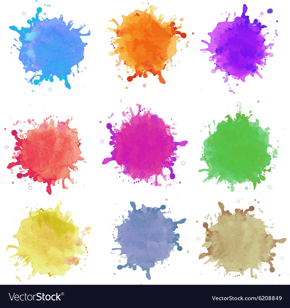 Abstract hand drawn watercolor blots background vector