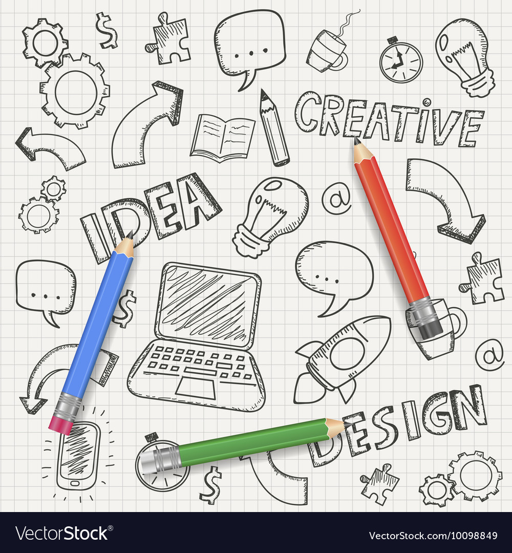 Idea concept with pencils and doodle sketches vector