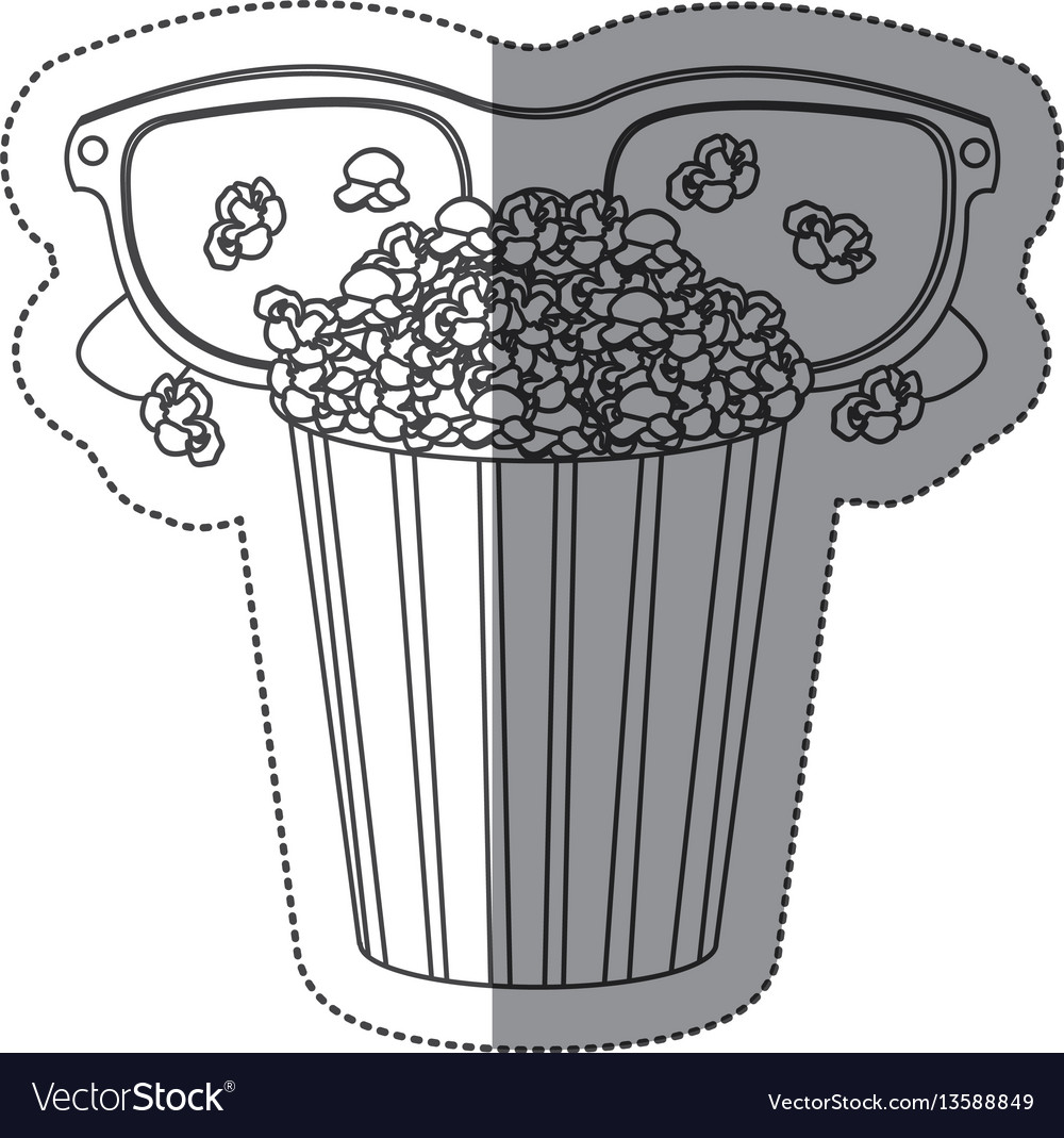Monochrome contour sticker with popcorn cup and vector