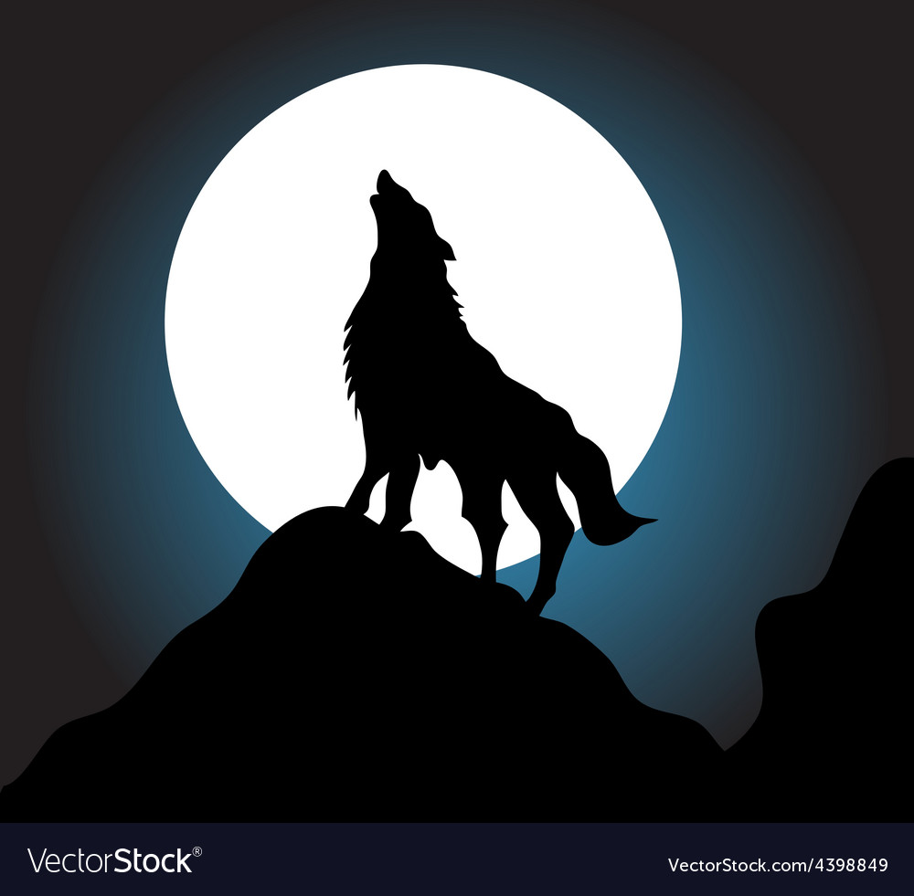 Wolf howling background vector