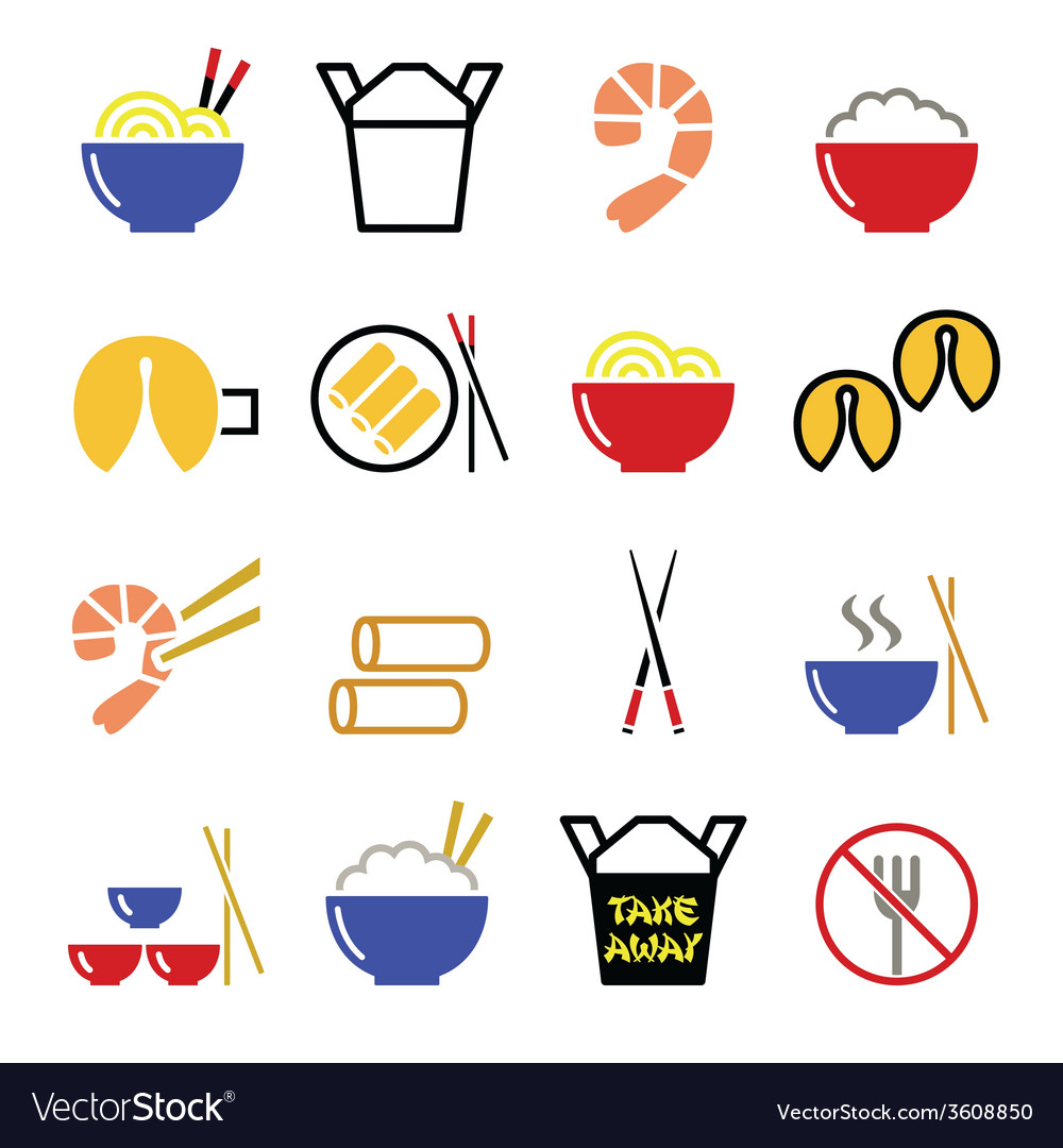 Chinese take away food icons  pasta rice spring vector