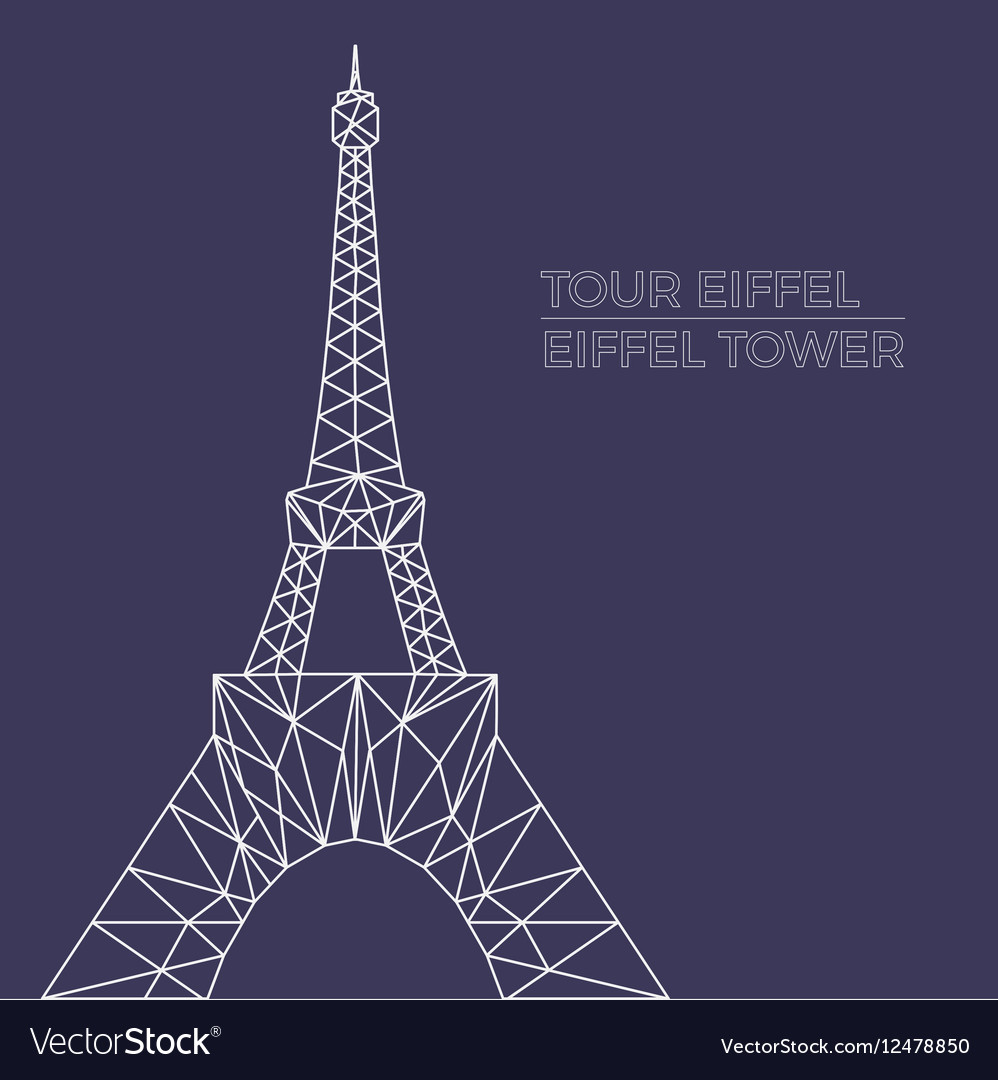 Eiffel tower in polygonal style vector