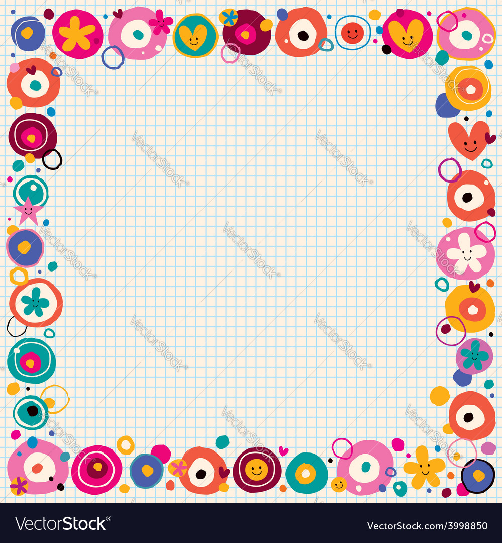 Flowers hearts border vector