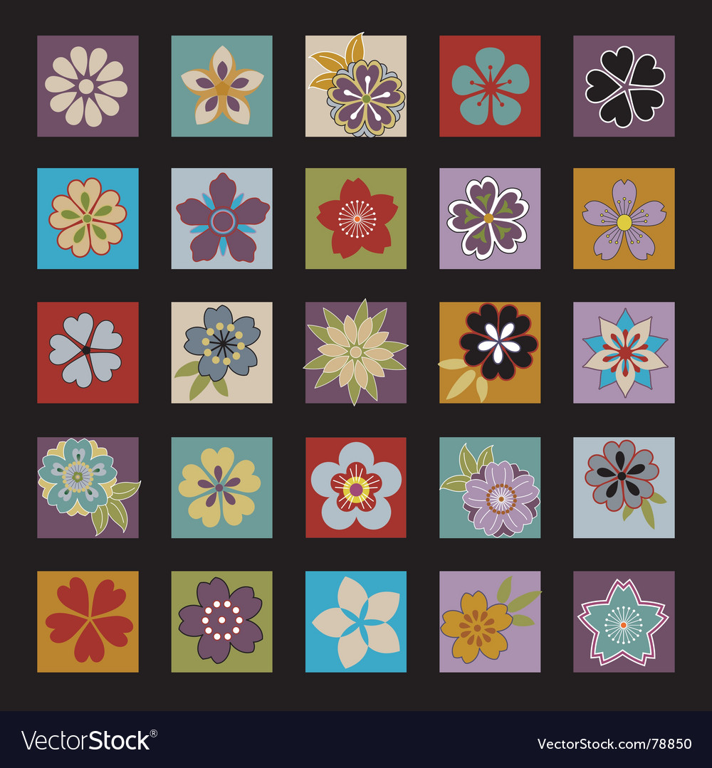 Twenty five asian flowers vector