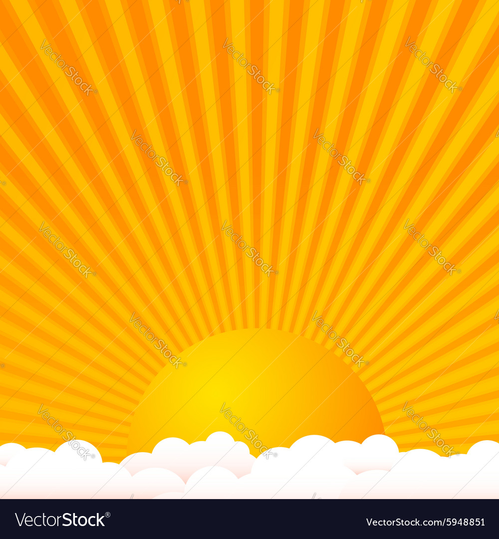 Sun above clouds vector