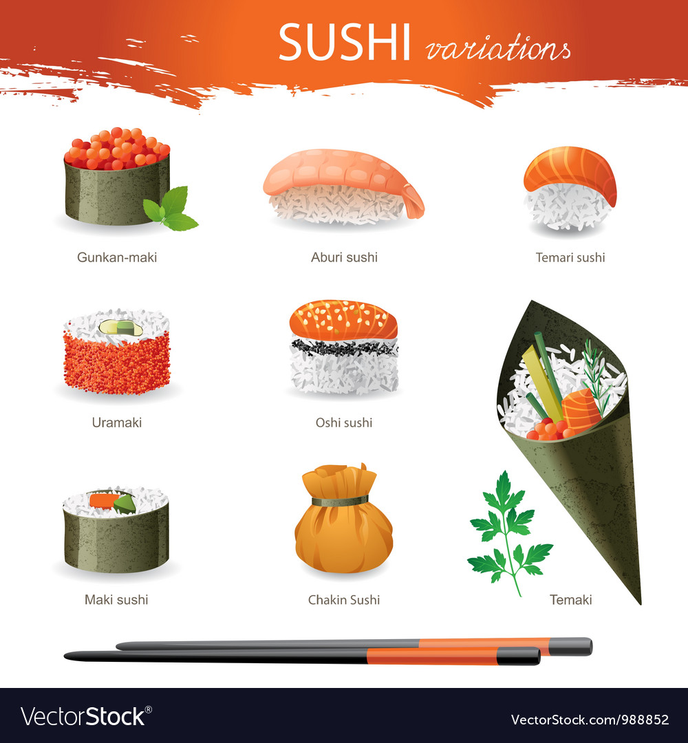 Sushi types vector