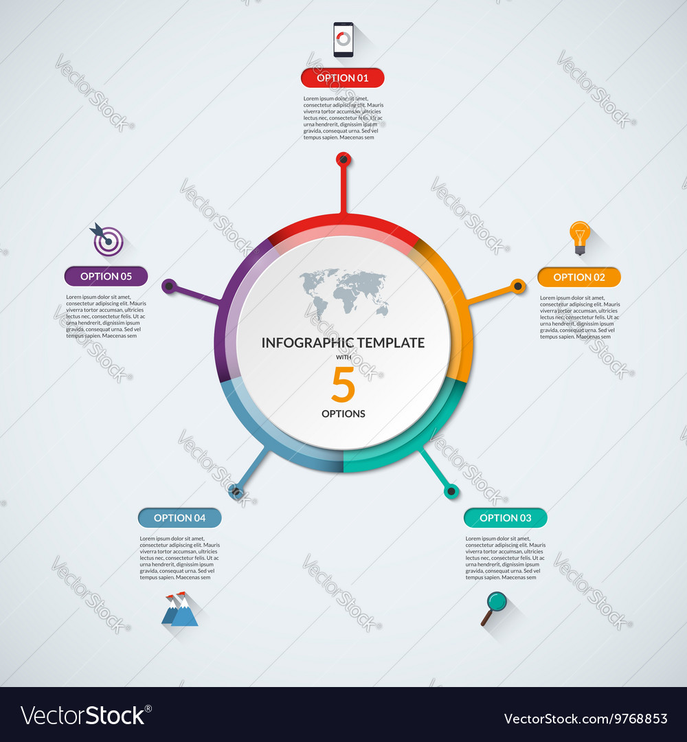Infographic circle diagram template with 5 options vector