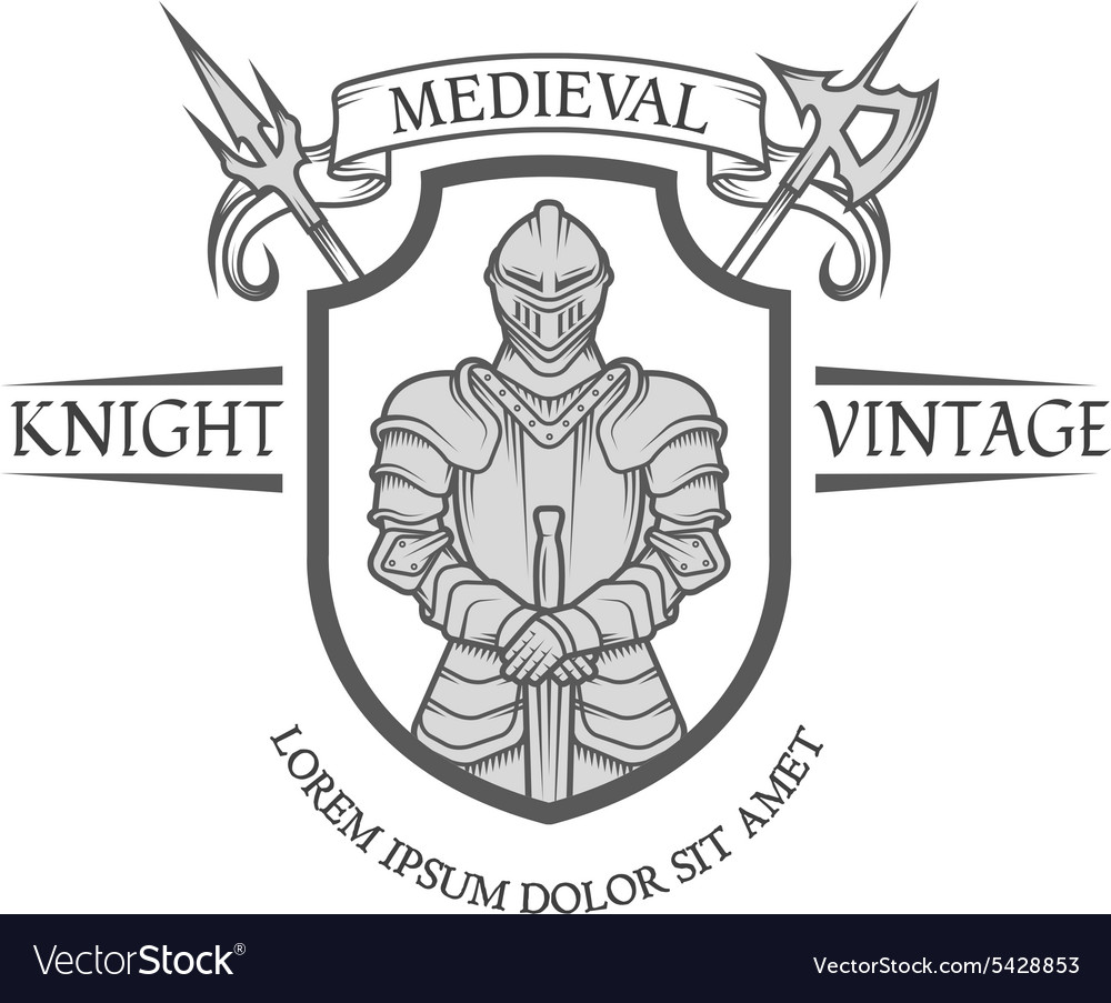 Knight warrior in armor with a sword vector