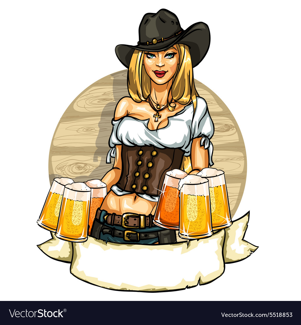 Pretty cowgirl with beer mugs label vector