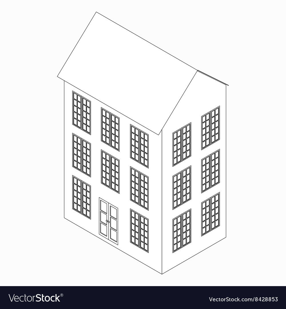 Threestoried building icon isometric 3d style vector