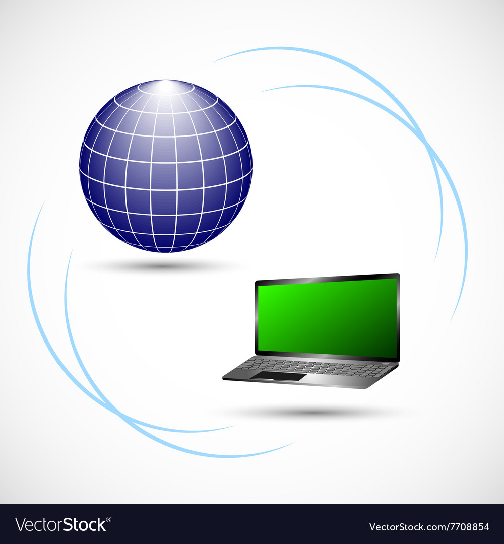 Internet connection between computer and server vector
