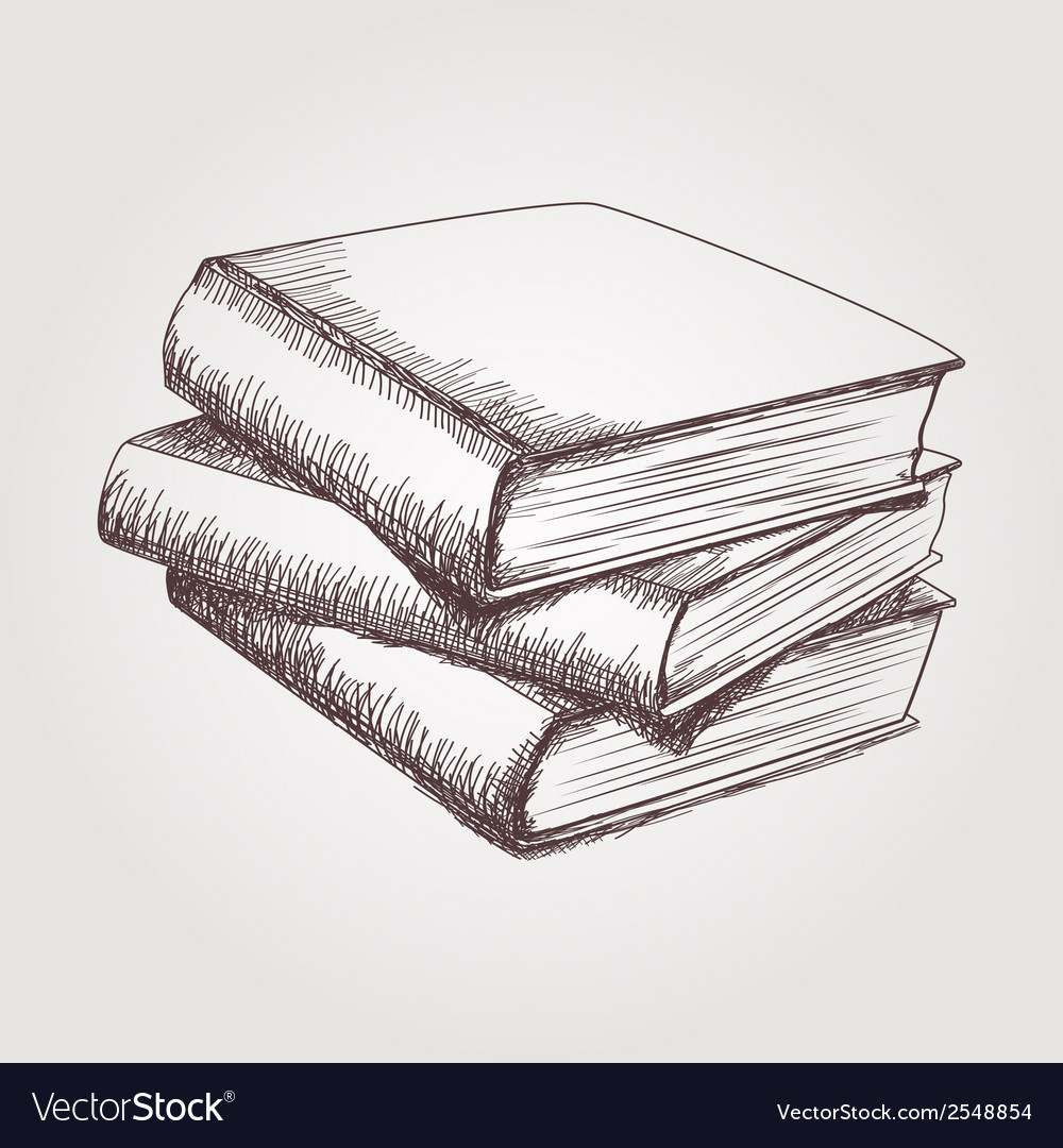 Sketch of books stack vector