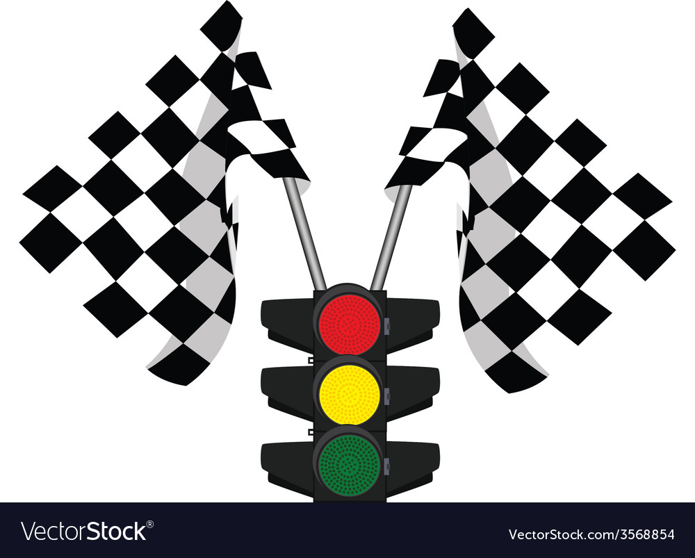 Traffic lights and finish start flag vector