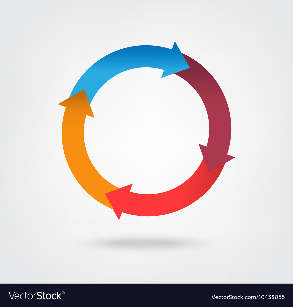 4 part arrow wheel chart icon vector