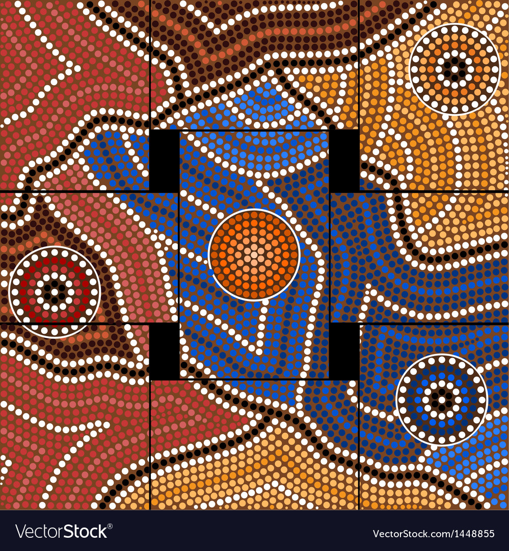A based on aboriginal style of dot pa vector