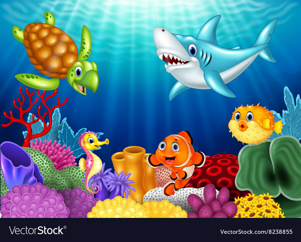 Cartoon tropical fish and beautiful underwater vector
