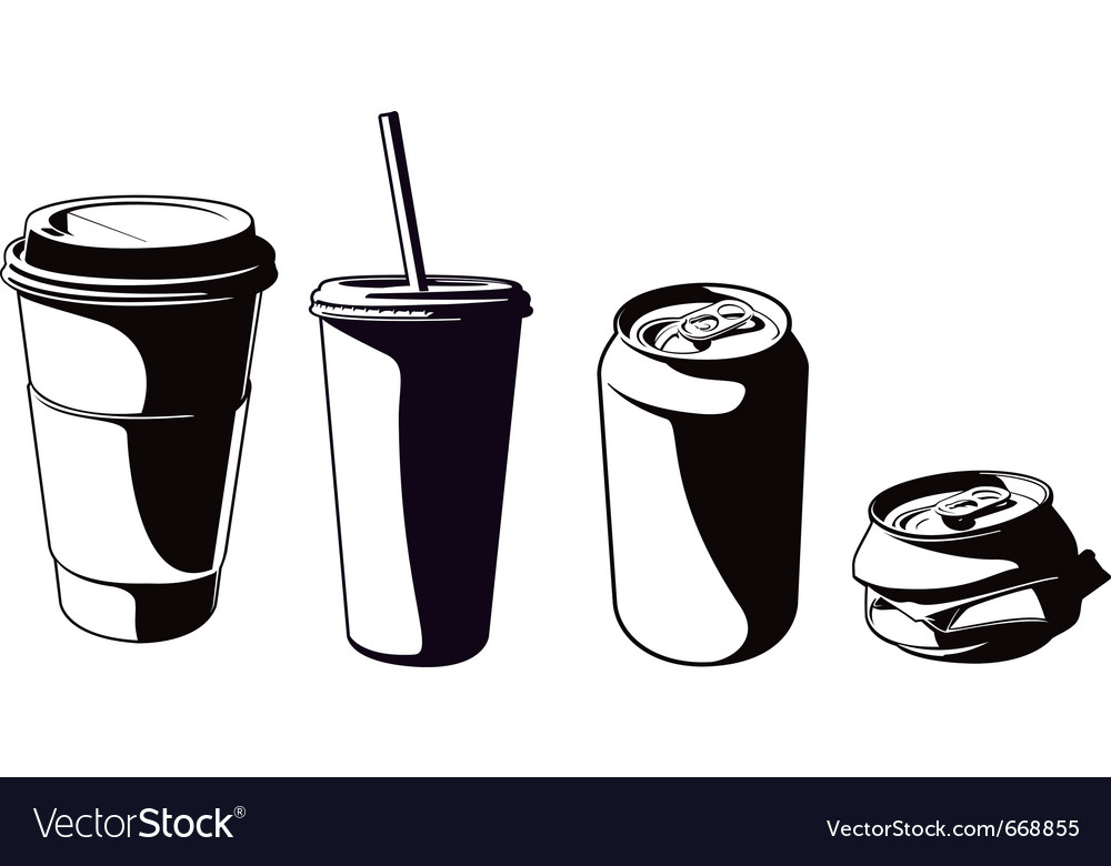 Cups and cans set vector