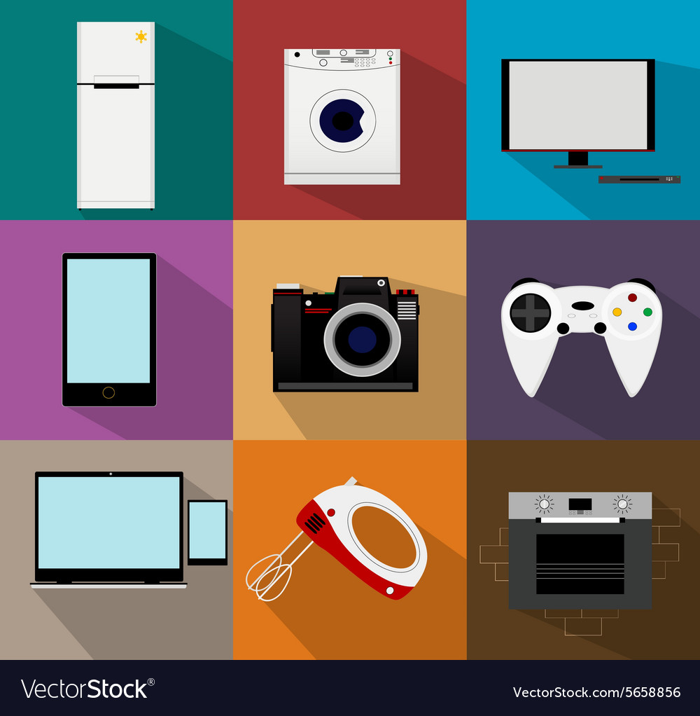 Flat modern kitchen appliances icons vector