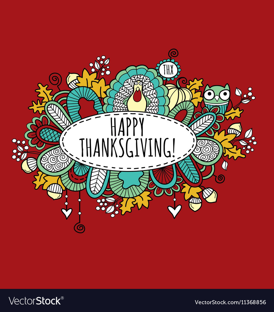 Happy thanksgiving doodle burgundy vector
