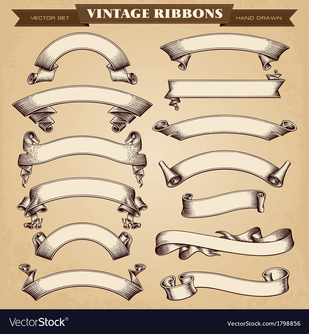 Vintage ribbons banners vector