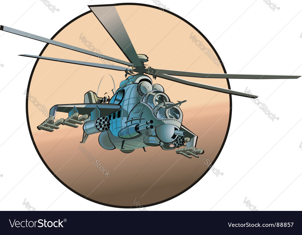 Cartoon military helicopter vector