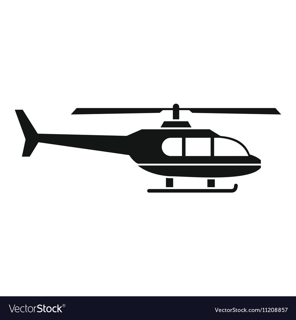Military helicopter icon simple style vector