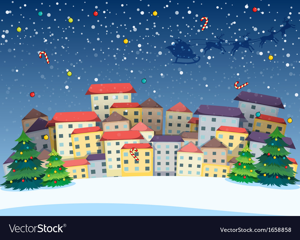 A village with christmas trees vector