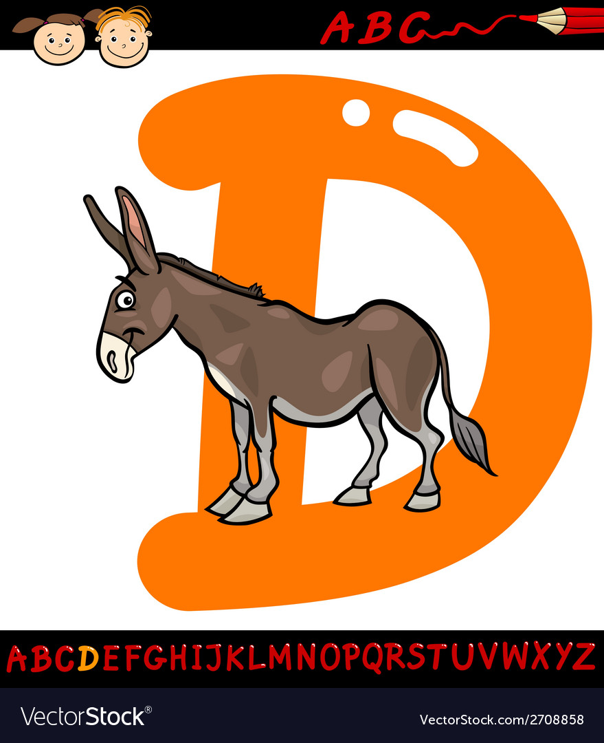 Letter d for donkey cartoon vector