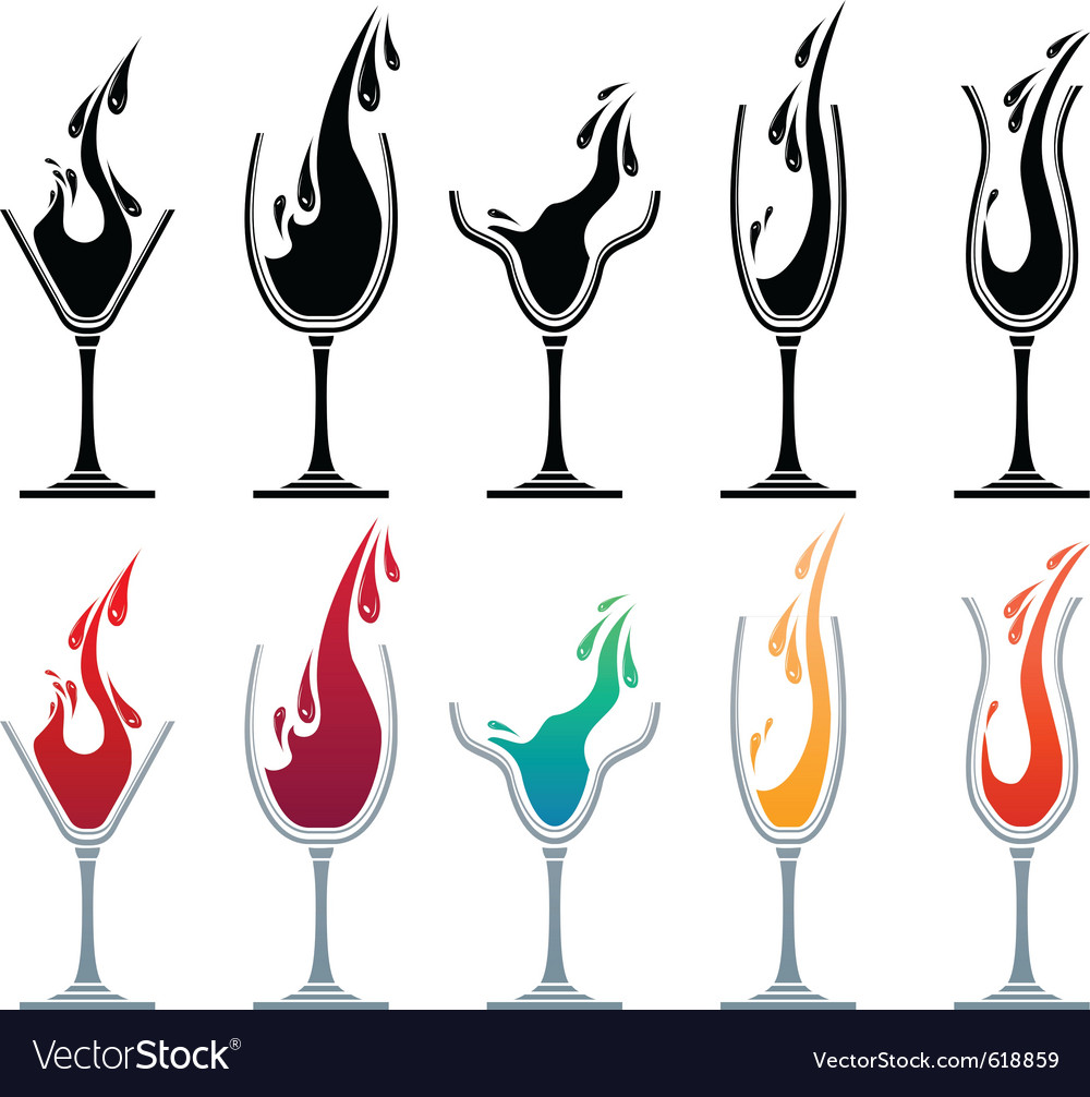 Glasses with different drinks vector