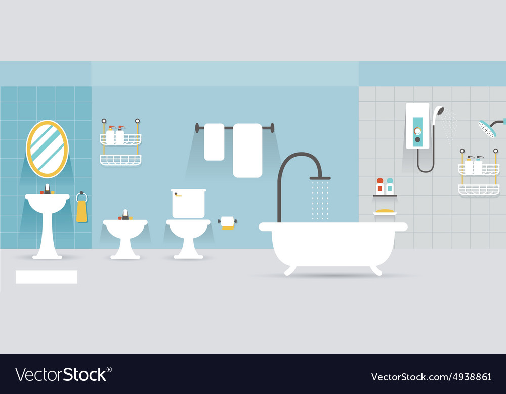 Bathroom furniture display panorama vector