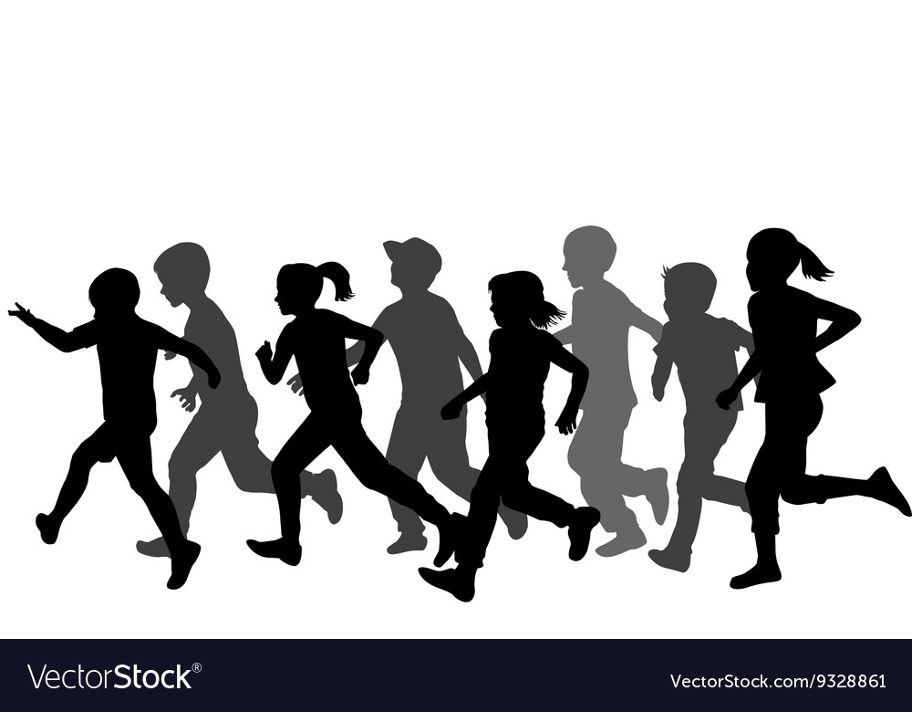 Children silhouettes running vector