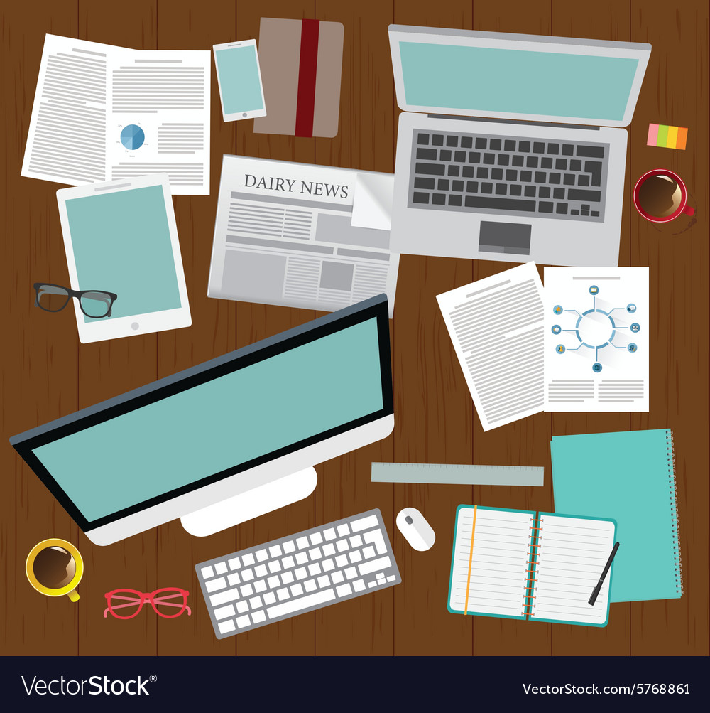 Realistic workplace organization top view vector