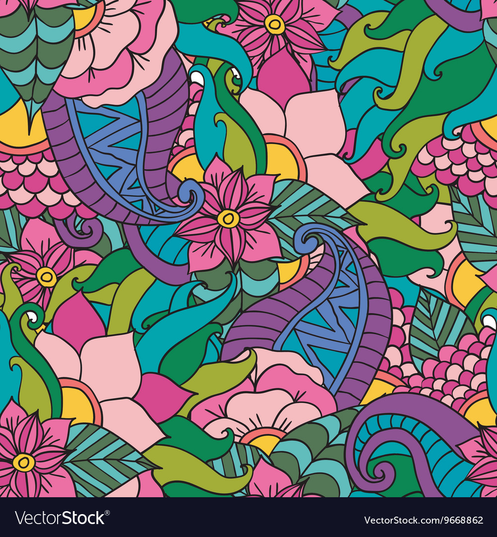 Abstract decorative ethnic floral colorful vector