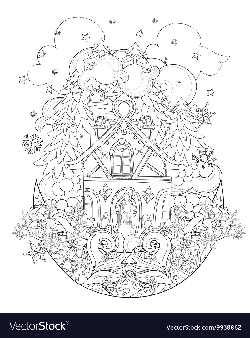 Cute christmas fairy tale town doodle vector