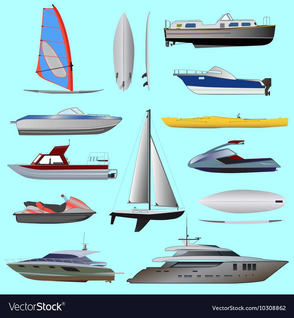Set of boat vector