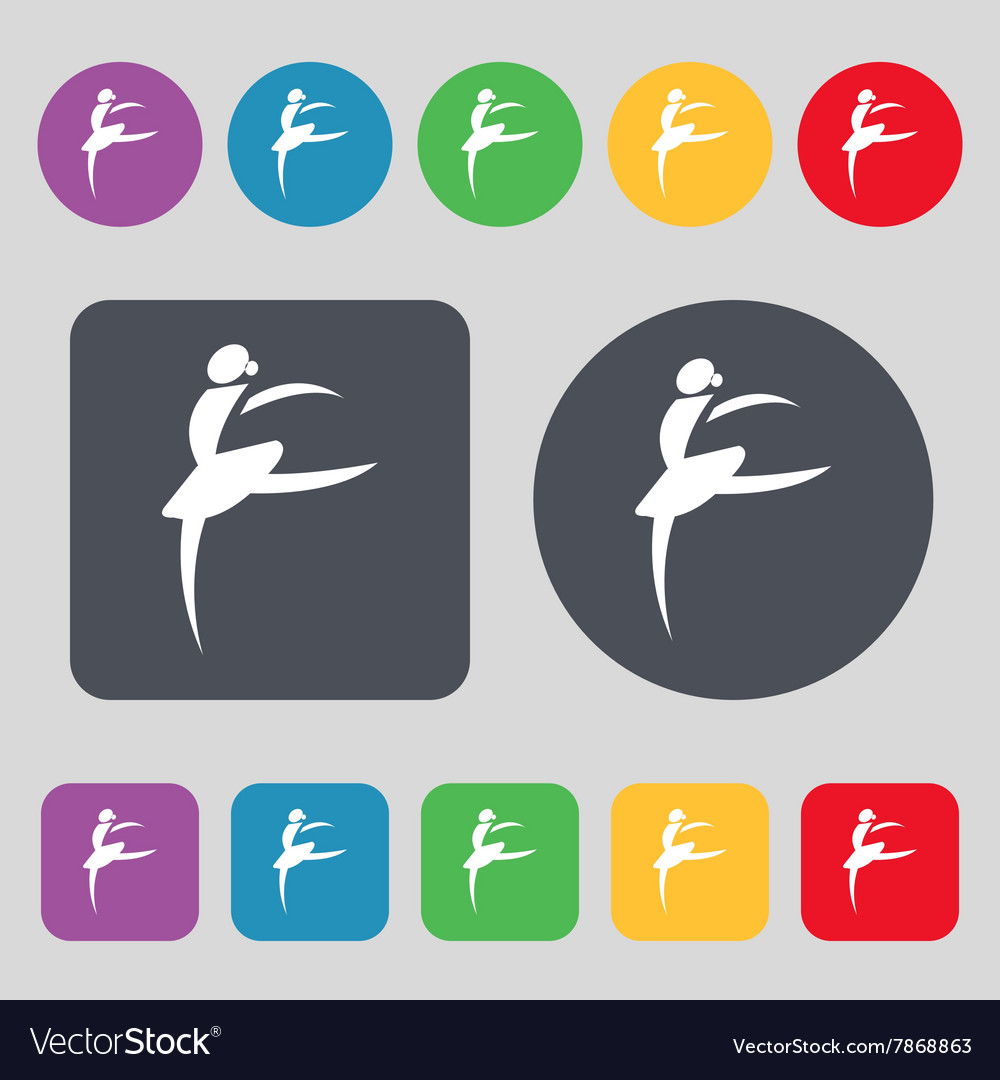 Dance girl ballet ballerina icon sign a set of 12 vector