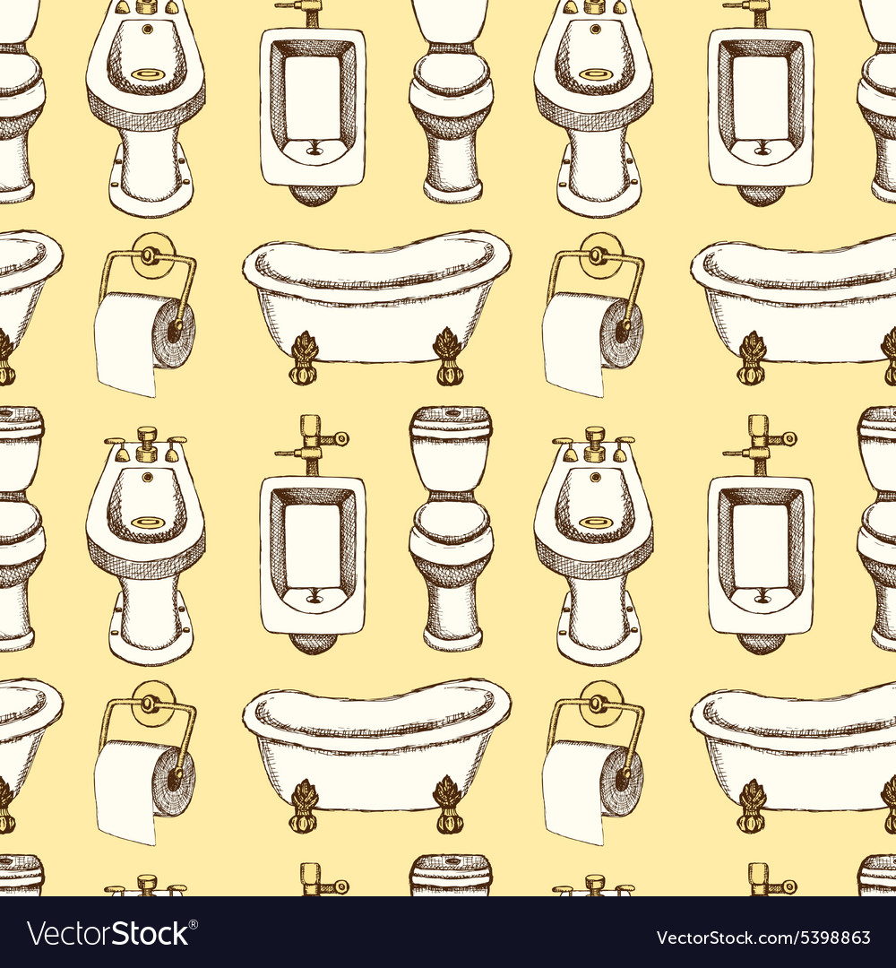 Sketch toilet and bathroom eguipment in vintage vector