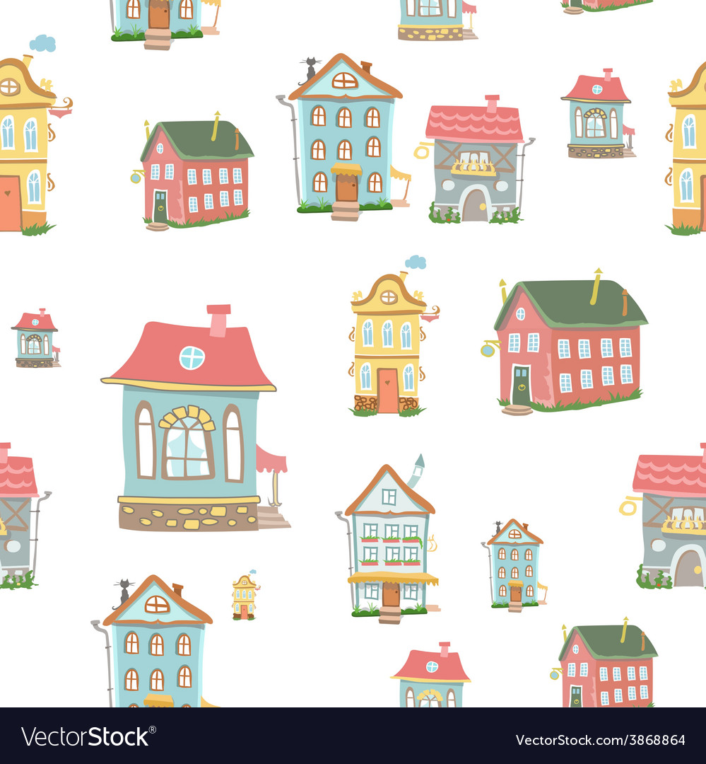 Cute cartoon houses vector