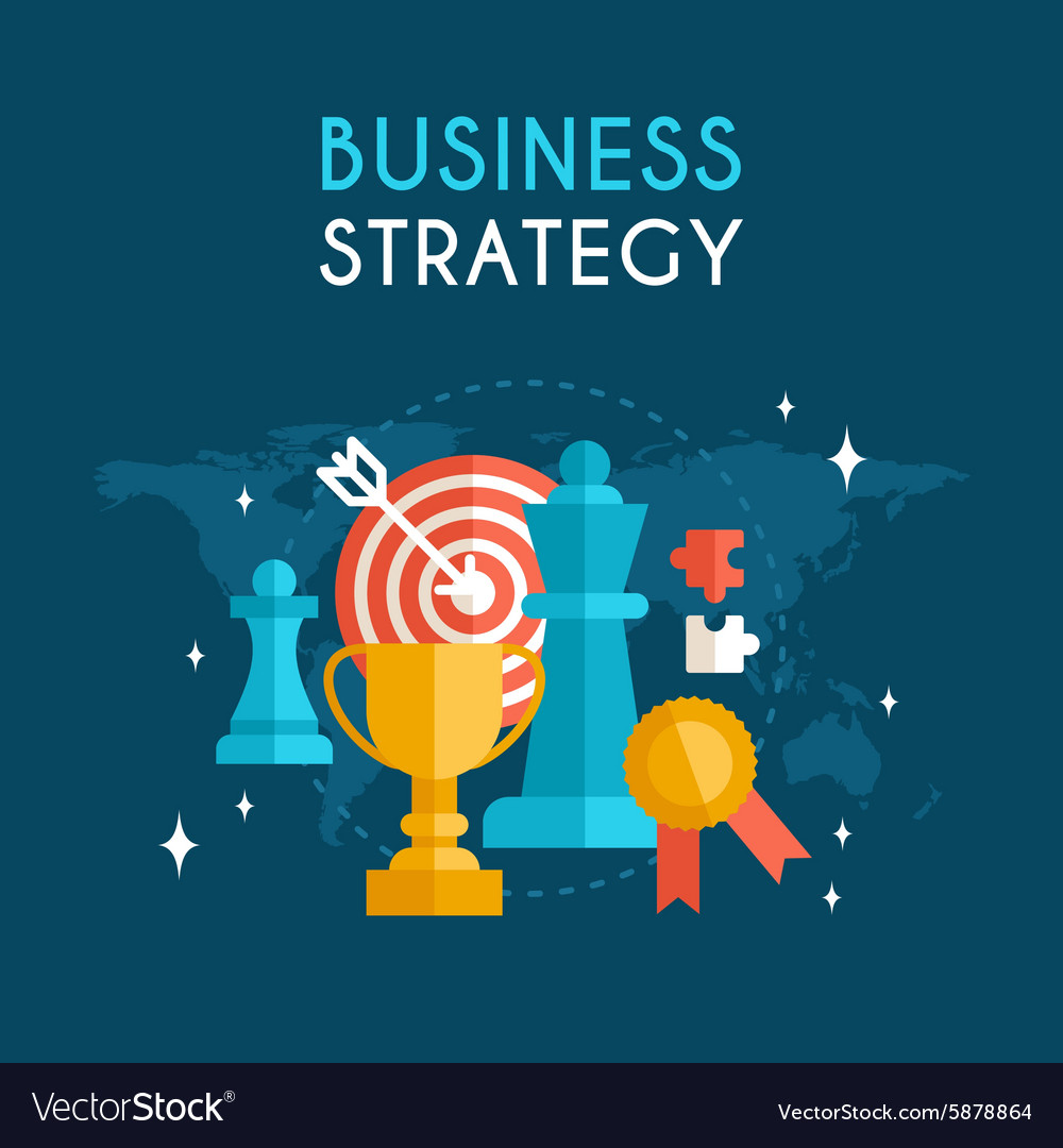 Flat design business concept business strategy vector