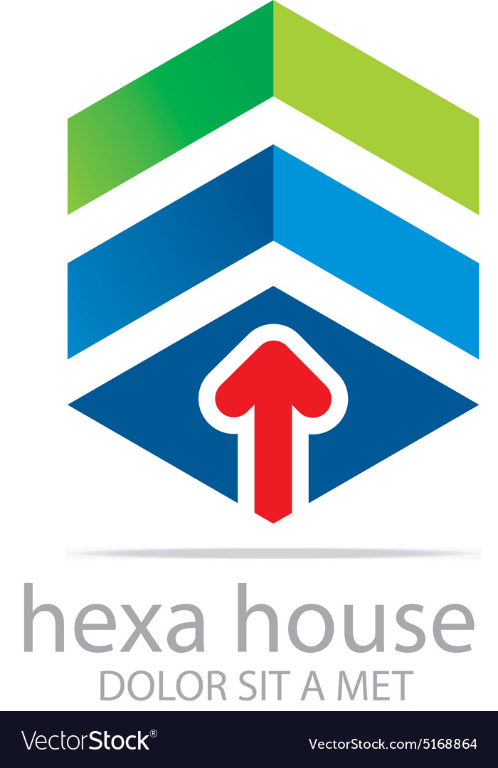 Logo penta house arrow design icon symbol vector
