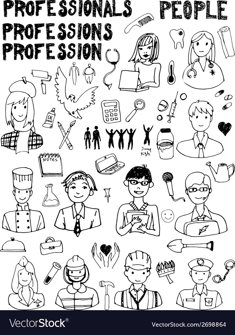 Set of people occupations doodles vector