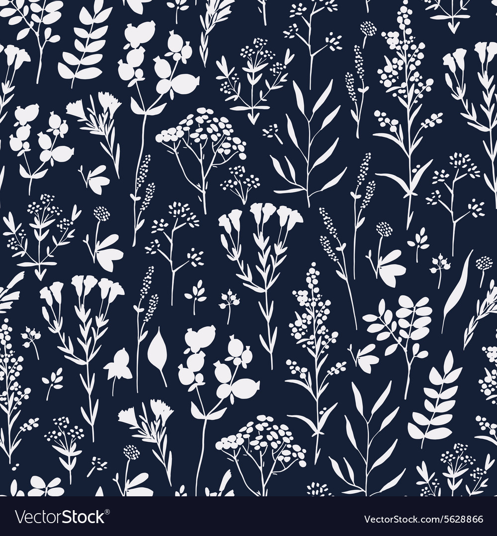 Seamless handdrawn floral pattern with herbs vector
