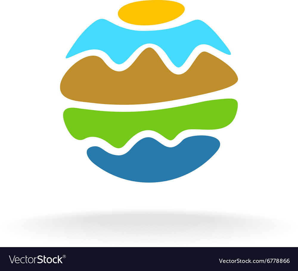 Sun sea sky and mountains round stylized logo vector