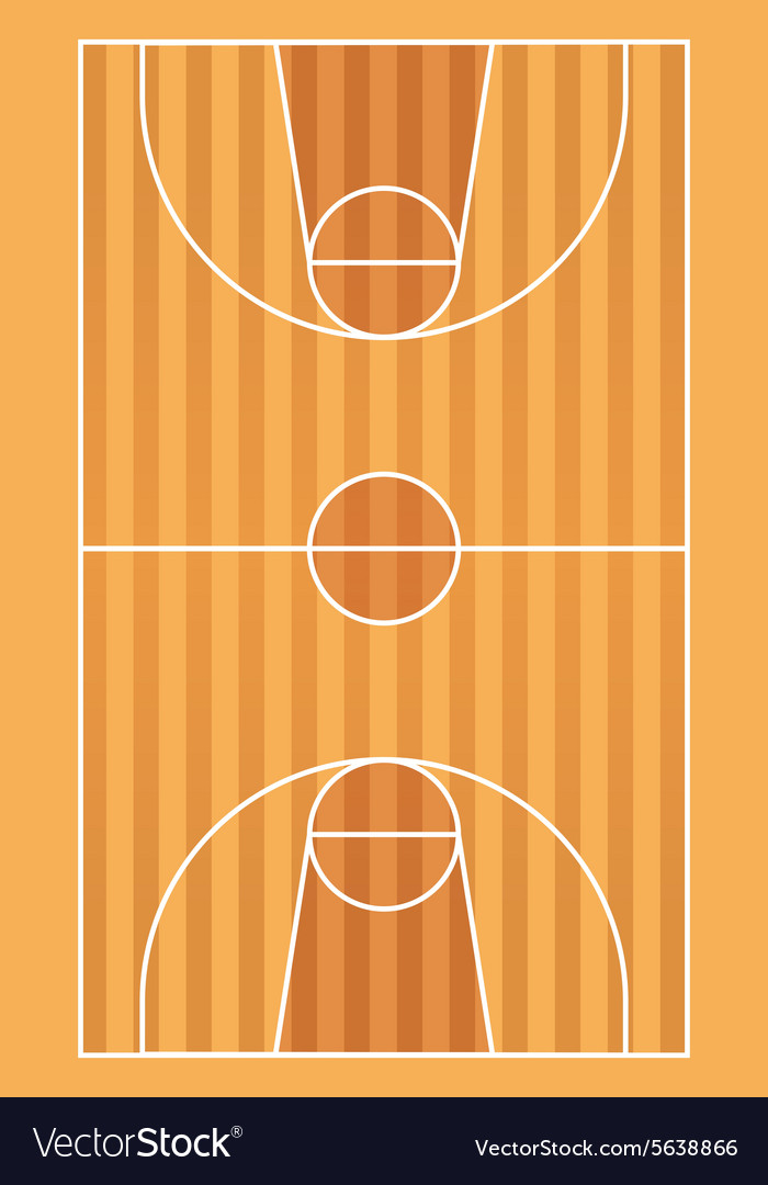 Wooden basketball court with lines vector