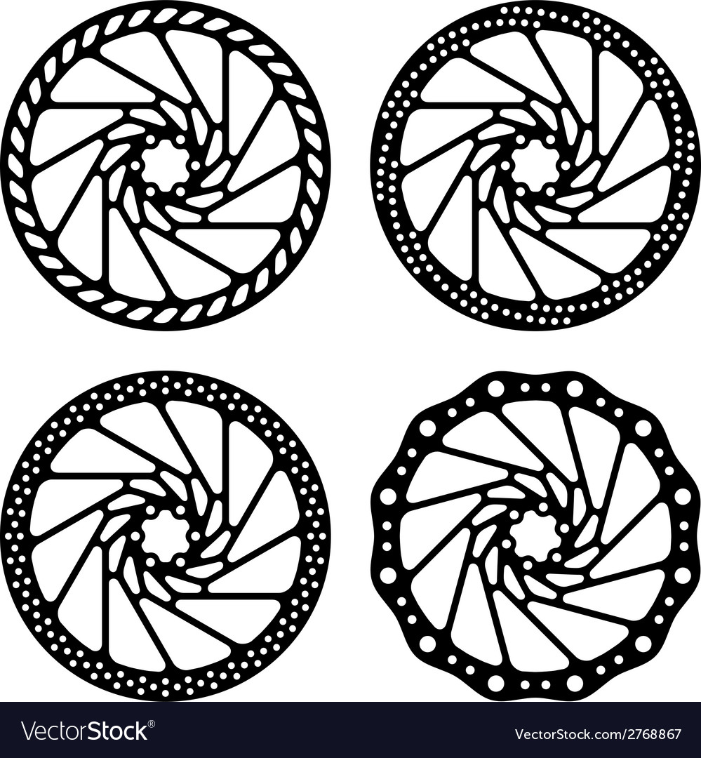 Bike brake disc black silhouette vector
