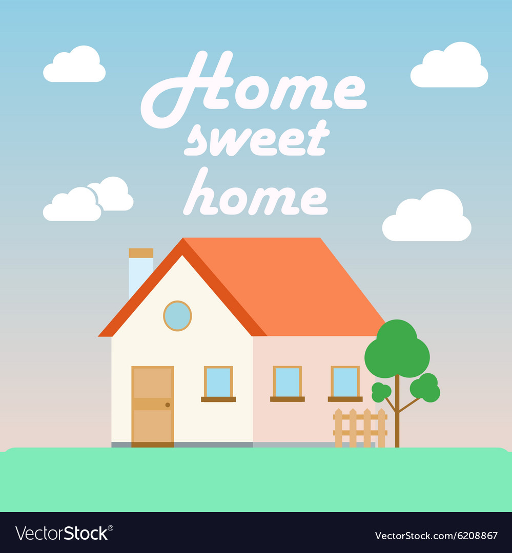 Home sweet home poster in flat cartoon style with vector