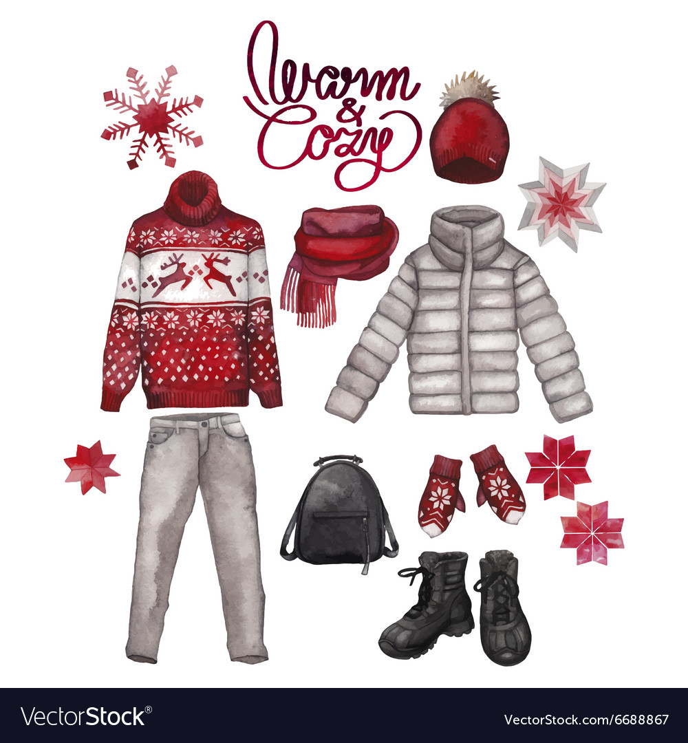 Watercolor winter clothes vector