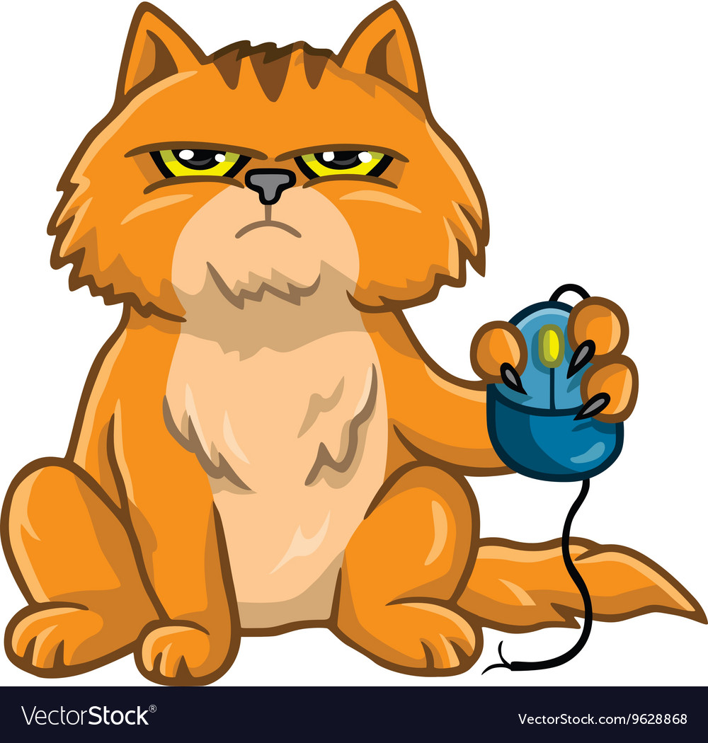 Cat holding computer mouse vector